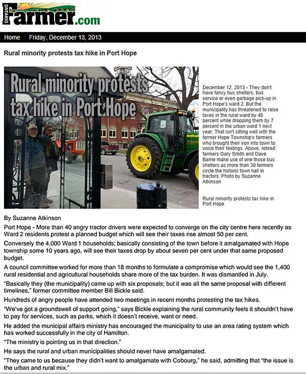 Ontario-Farmer article on rural Ward 2 farmers protest by tractors against proposed Port Hope tax hike