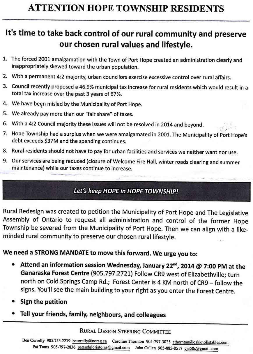 Rural Redesign - Port Hope Ward 2 De-amalgamation petition