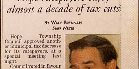 Port Hope Evening Guide newspaper article April 26 2000 prior to amalgamation of Hope Township and Port Hope Ontario