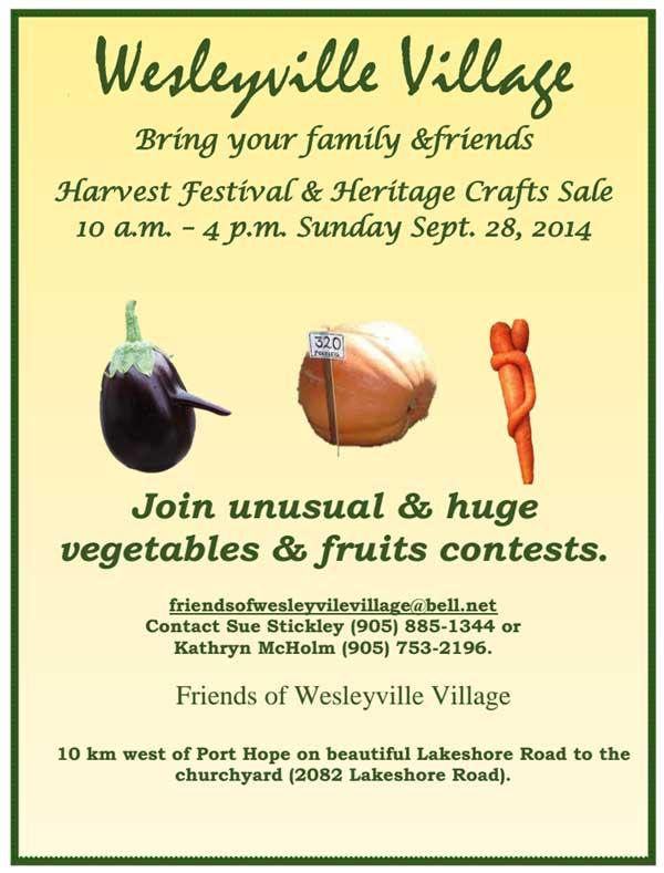 Harvest Festival and Heritage Crafts Sale, by Friends of Wesleyville Village