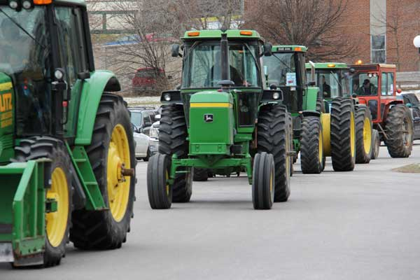 Peaceful tractor demonstration by Ward 2 farmers against proposed 46.9% tax increase