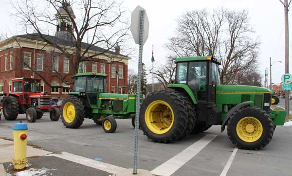 Tractor demonstration against proposed tax increase at Port Hope town hall